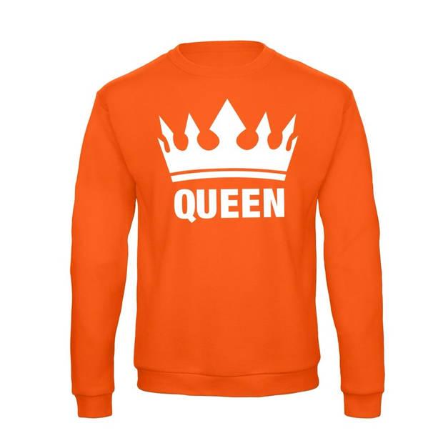 Oranje Koningsdag Queen sweater / trui dames - Oranje Koningsdag kleding XL