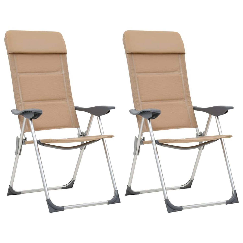 vidaXL Campingstoelen 2 st 58x69x111 cm aluminium crème