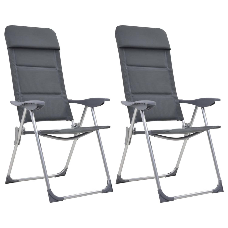 vidaXL Campingstoelen 58x69x111 cm aluminium grijs 2 st