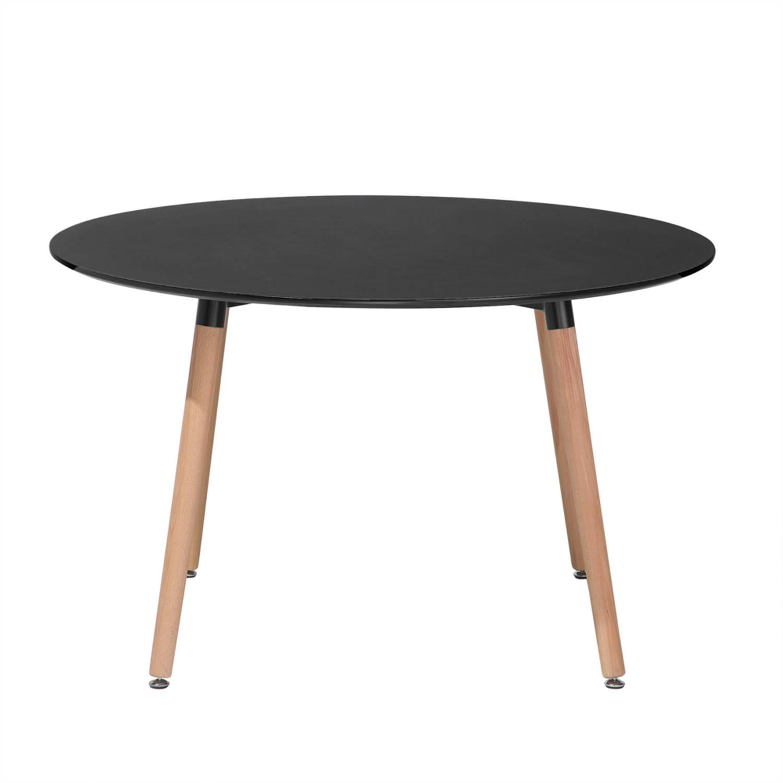 Eettafel zwart, 120 cm, keukentafel, eetkamertafel, BOVIO