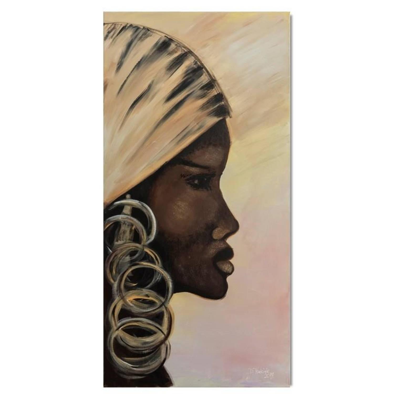 Schilderij Dame uit Afrika 60x150