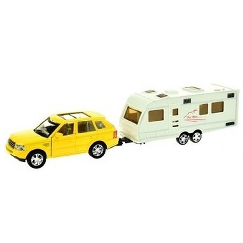 Afbeelding van Gele speelgoed auto met caravan aanhanger - Speelgoed voertuigen voor jongens