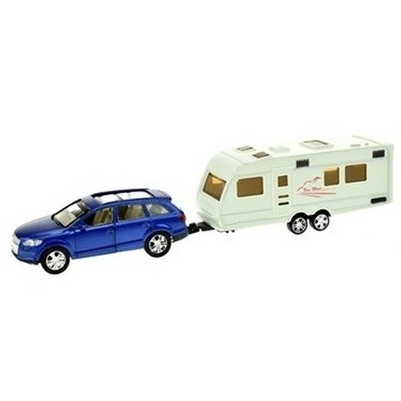 Afbeelding van Blauwe speelgoed auto met caravan aanhanger - Speelgoed voertuigen voor jongens