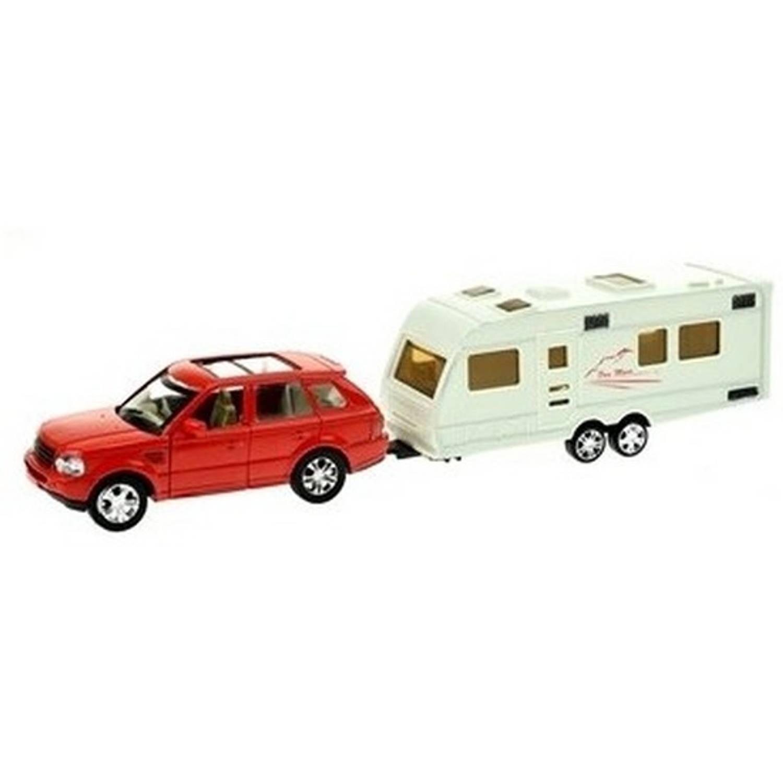 Afbeelding van Rode speelgoed auto met caravan aanhanger - Speelgoed voertuigen voor jongens