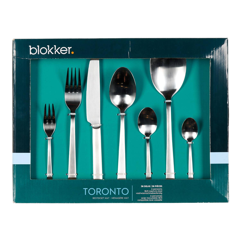 Korting Blokker Toronto Bestekset 38 delig 6 Persoons Mat