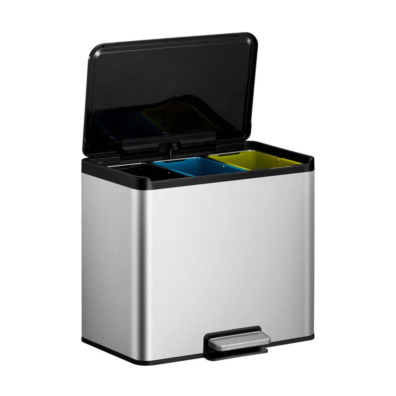 EKO Essential Recycler pedaalemmer afvalscheider 3 x 9L mat RVS