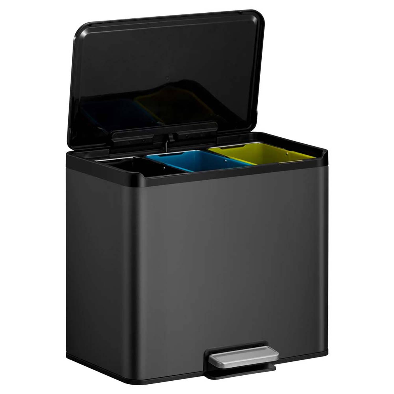 Korting Eko Essential Recycler Pedaalemmer Afvalscheider 3 X 9l Zwart