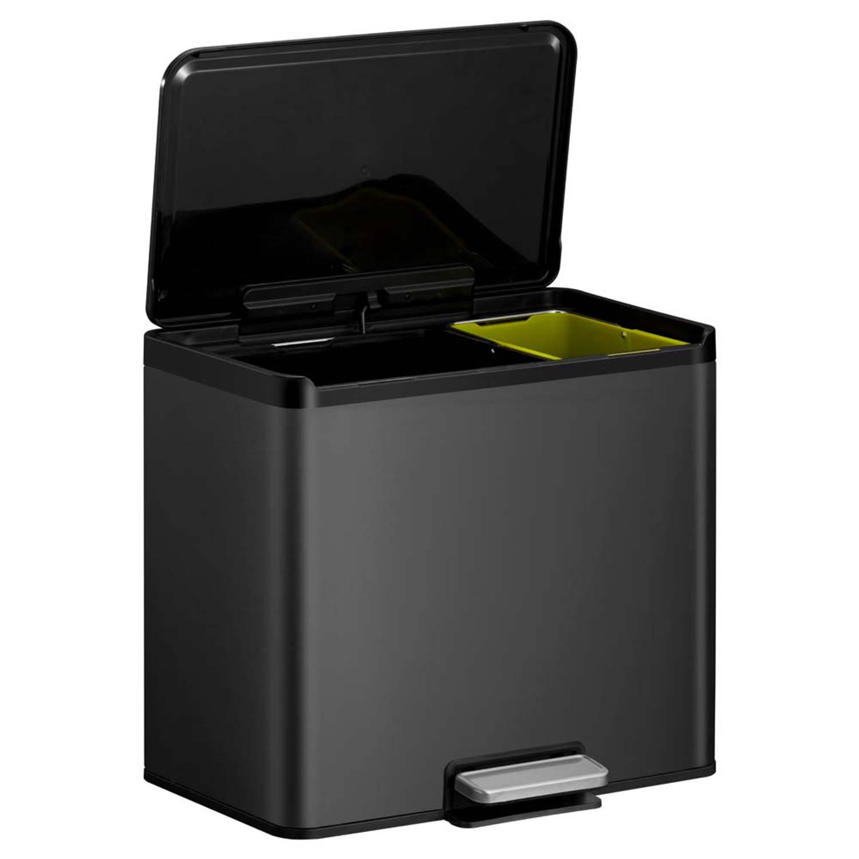 Korting Eko Essential Recycler Pedaalemmer Afvalscheider 20 plus 9l Zwart