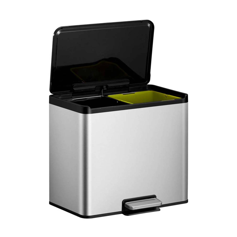 EKO Essential Recycler pedaalemmer afvalscheider 2 x 15L mat RVS