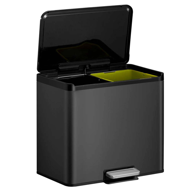 EKO Essential Recycler pedaalemmer afvalscheider 2 x 15L zwart