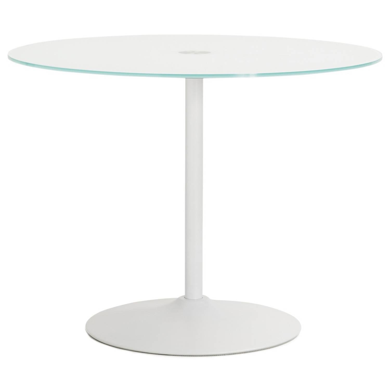 24Designs Tafel Quinn Rond - Ø100 - Wit Glazen Tafelblad
