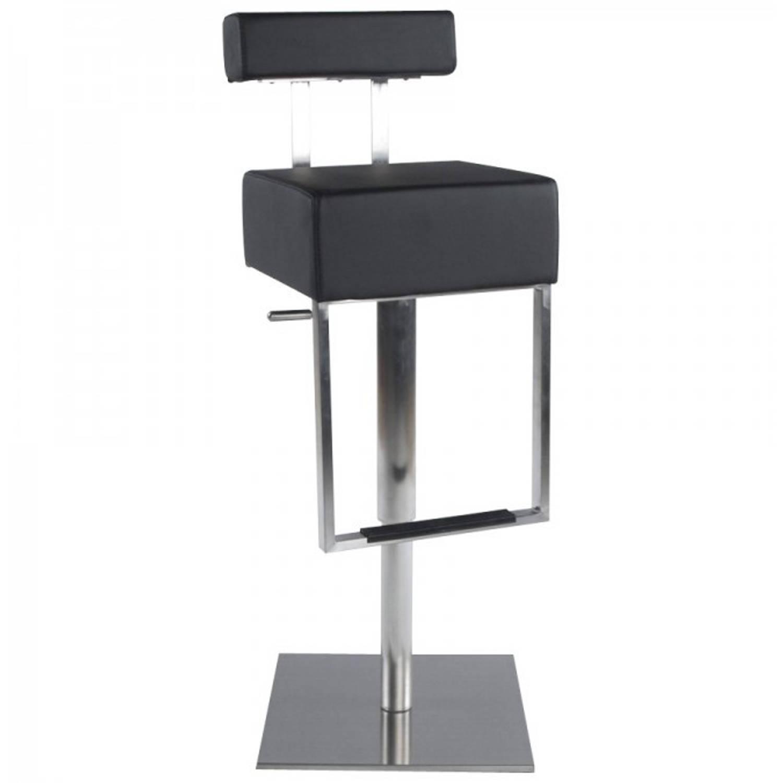 24Designs Barkruk Capucine - Zwart Kunstleer - Geborsteld Staal