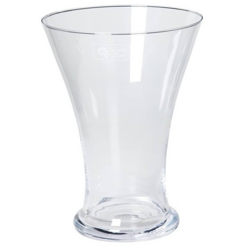 Taps Uitlopende Glazen Vaas Voor Tulpen Bloemen Boeketjes 25 Cm Bloemenvaas Decoratieve Vazen Blokker