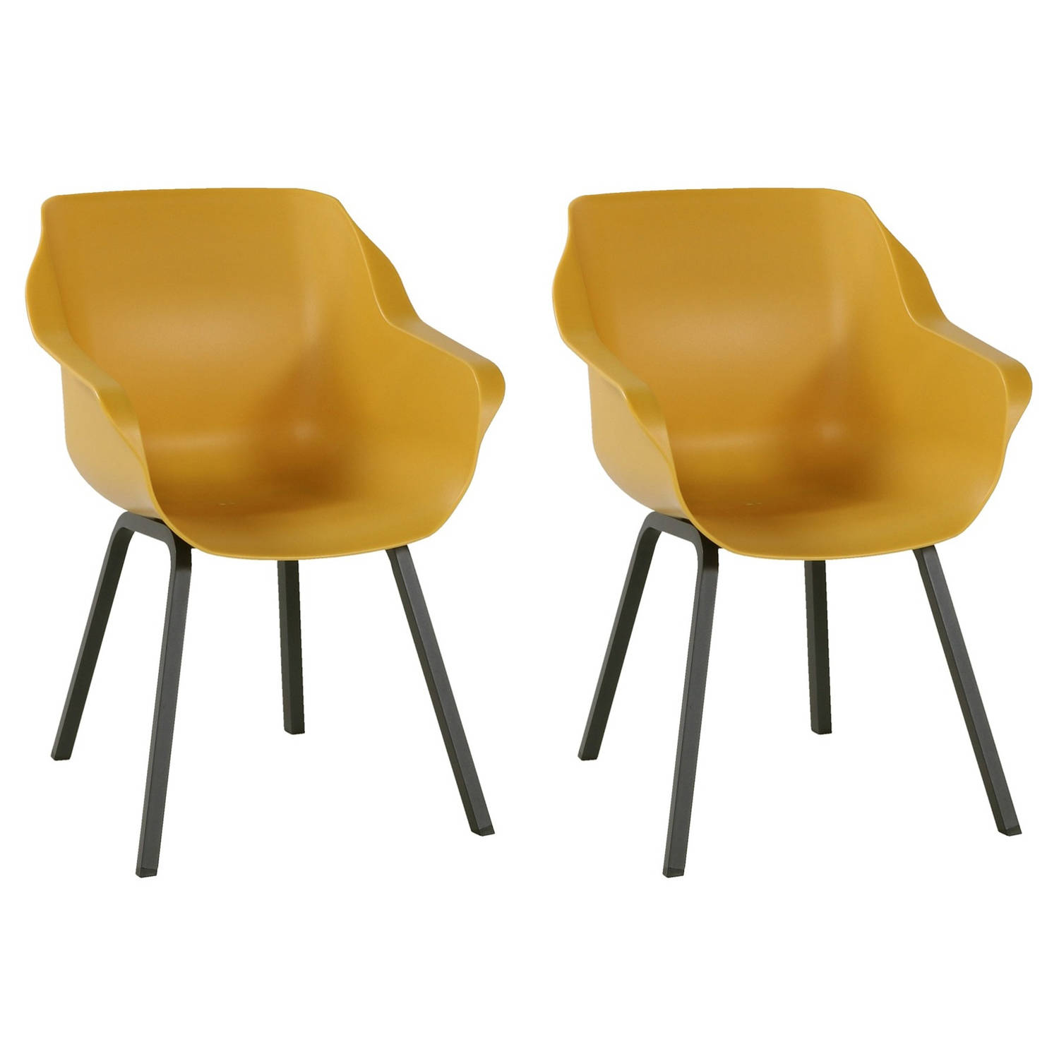 Hartman Sophie Element Dining Tuinstoel Armleuning - Set Van 2 - Curry Yellow NU Met Gratis Zitkusse