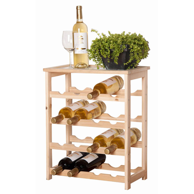 Wijnrek hout 16 flessen