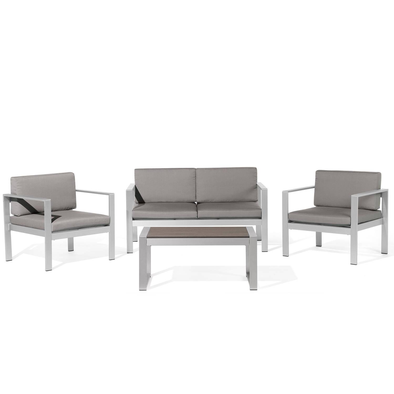 Aluminium tuinset donkergrijs zitgroep tafel + tuinbank + 2 stoelen SALERNO