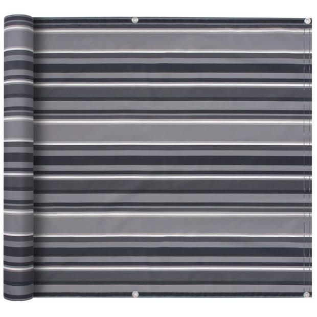 vidaXL Balkonscherm 75x400 cm oxford stof streep grijs
