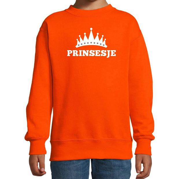 Oranje Prinsesje met kroon sweater meisjes - Oranje Koningsdag kleding 7-8 jaar (122/128)