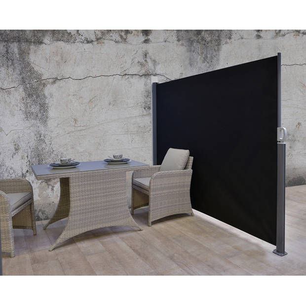 Garden Impressions Windscherm oprolbaar 180x300 cm donker grijs/wit