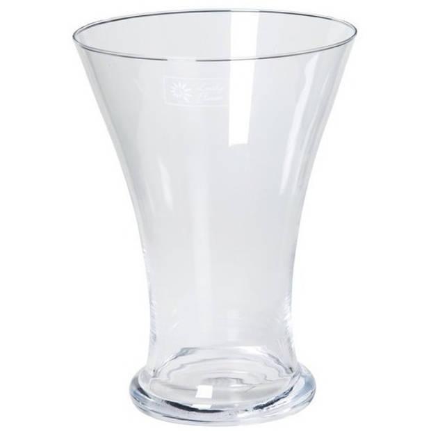 Taps uitlopende glazen vaas voor tulpen/bloemen boeketjes 25 cm - Bloemenvaas - Decoratieve vazen