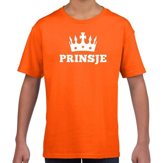 Oranje Prinsje met kroon t-shirt jongens - Oranje Koningsdag kleding XS (110-116)