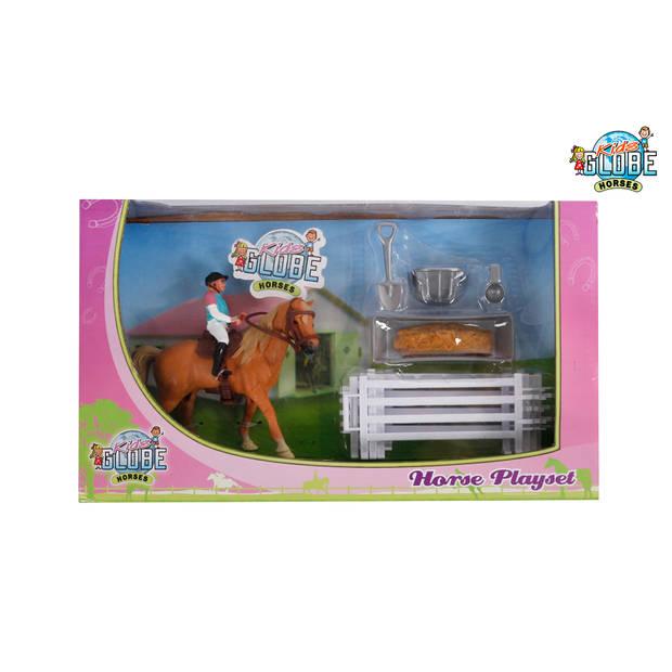 Kids globe paarden speelset met paard ruiter en accessoires