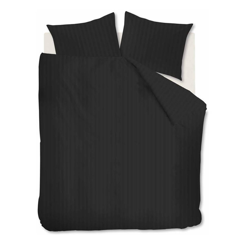 Afbeelding van Ambiante Bright dekbedovertrek - 100% katoen-satijn - Lits-jumeaux (240x200/220 cm + 2 slopen) - Black