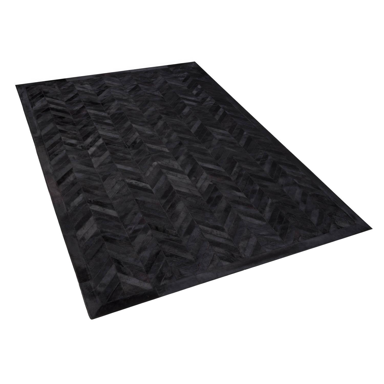 Beliani Belevi Tapijt Zwart Echt leer 140 x 200 cm