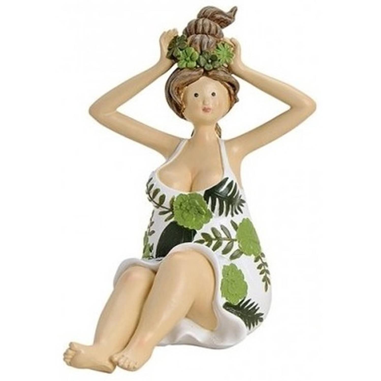Dikke dame beeldje groen/wit jurkje 16 cm - Woondecoratie - Decoratiebeeldjes/Tuinbeeldjes