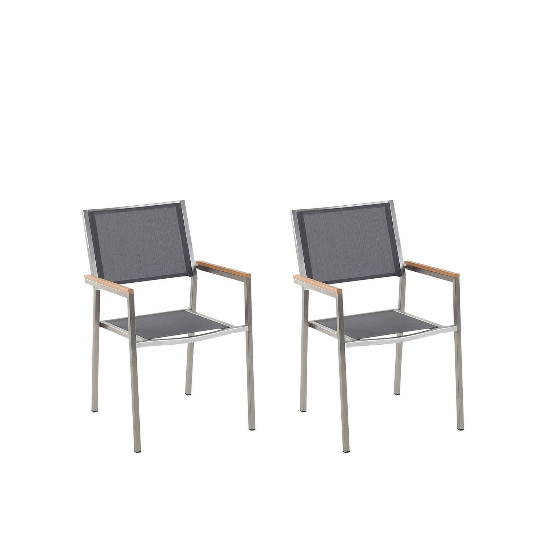 Beliani Grosseto - Tuinstoel Set Van 2-grijs-polyester
