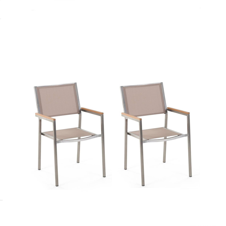 Beliani Grosseto - Tuinstoel Set Van 2-beige-polyester