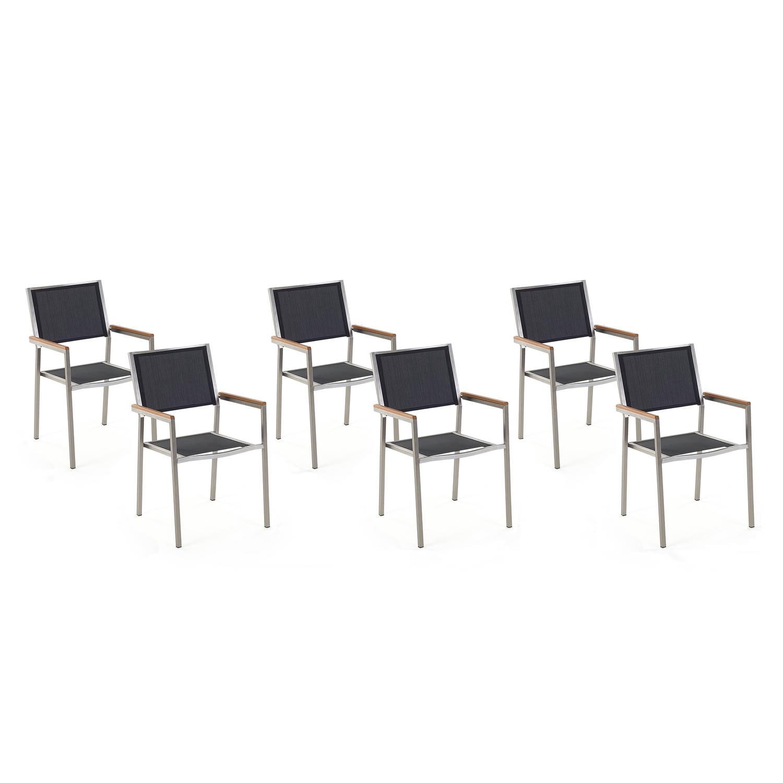 Beliani Grosseto - Tuinstoel Set Van 6-zwart-polyester