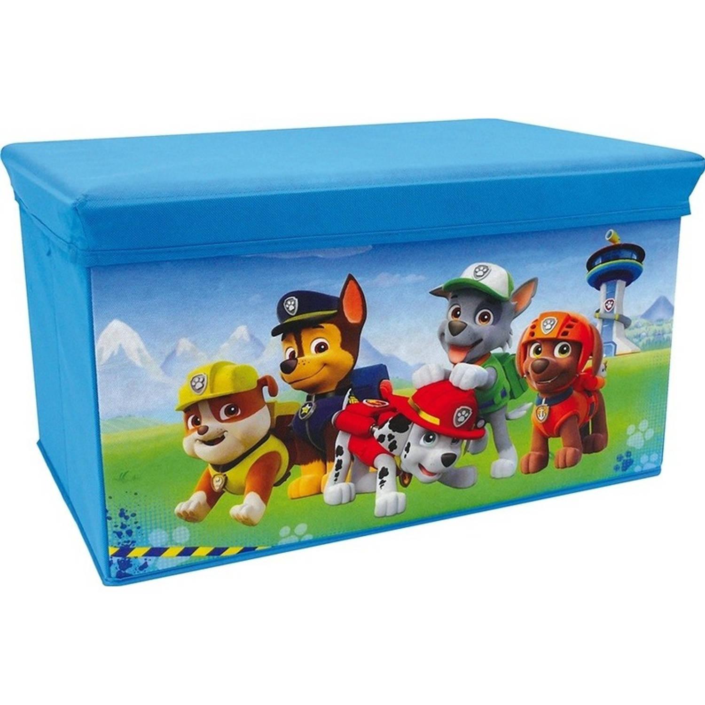 Afbeelding van Blauwe Disney Paw Patrol speelgoed opbergbox met zitvlak 55 cm - Speelgoed opruimen/opbergen - Kinderkamer meubels