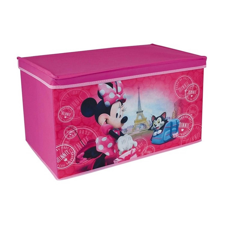 Afbeelding van Roze Disney Minnie Mouse speelgoed opbergbox 55 cm - Speelgoed opruimen/opbergen - Kinderkamer meubels