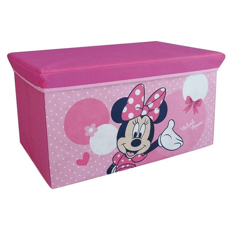 Afbeelding van Roze Disney Minnie Mouse speelgoed opbergbox met zitvlak 55 cm - Speelgoed opruimen/opbergen - Kinderkamer meubels