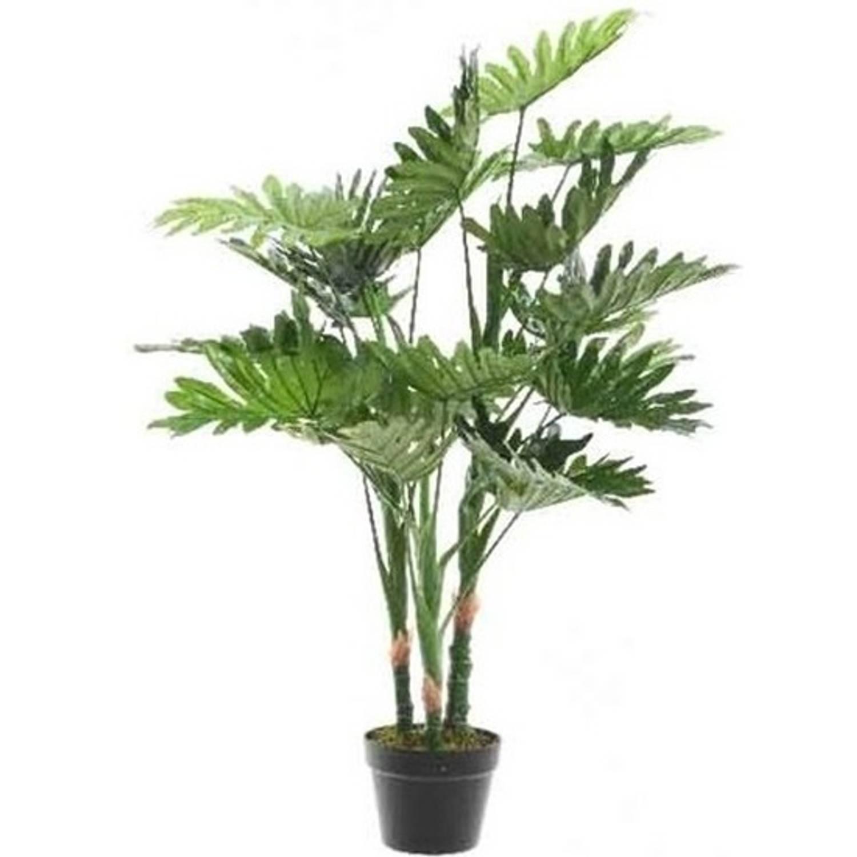 Groene Philodendron Monstera/gatenplant kunstplant 100 cm in zwarte plastic pot - Kamerplant kunstplanten/nepplanten