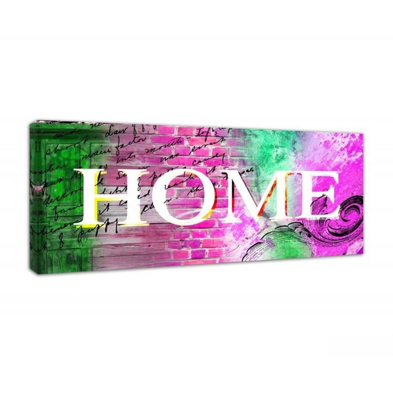 Schilderij - Home op roze en groen - 90x30