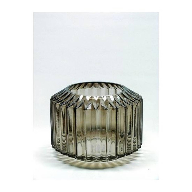 Windlicht Glas 13x14.5cm Bruin/grijs
