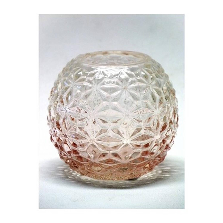 Theelichthouder Glas 11x10cm Roze