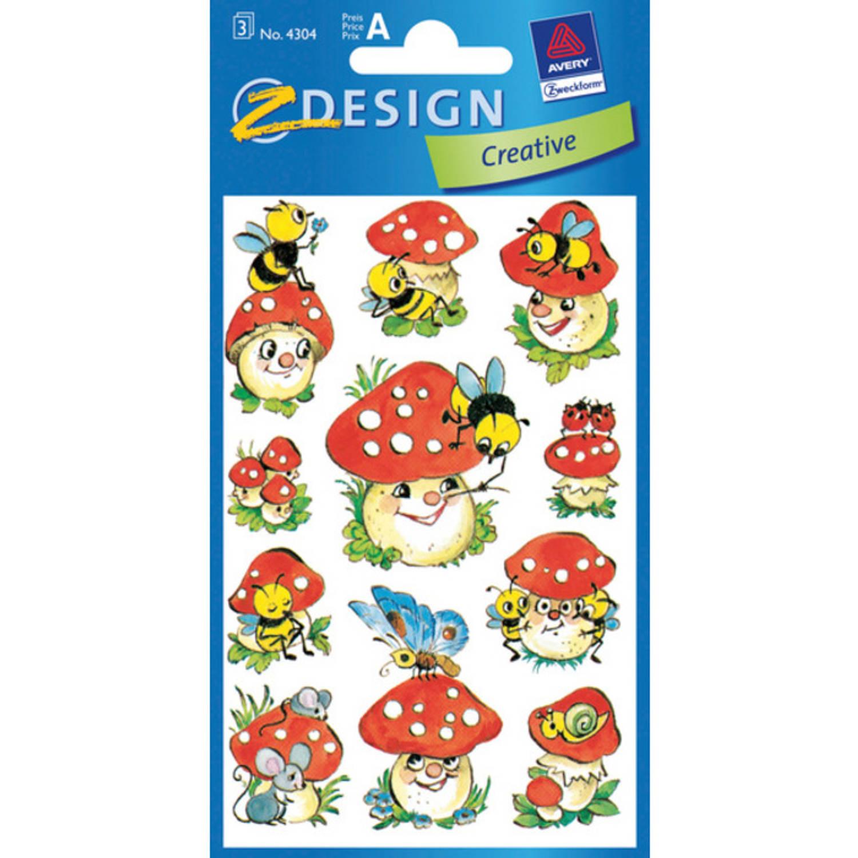 Korting Papieretiket Z design Creative Pakje A 3 Vel Vrolijke Paddenstoelen