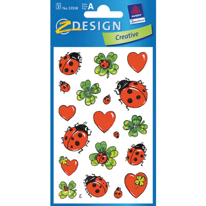 Korting Papieretiket Z design Creative Pakje A 3 Vel Lieveheersbeestjes hartjes