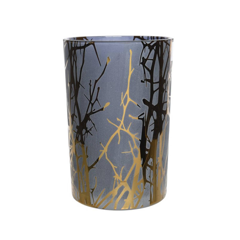 Theelicht Glas Takken Ø10x13cm Blauw