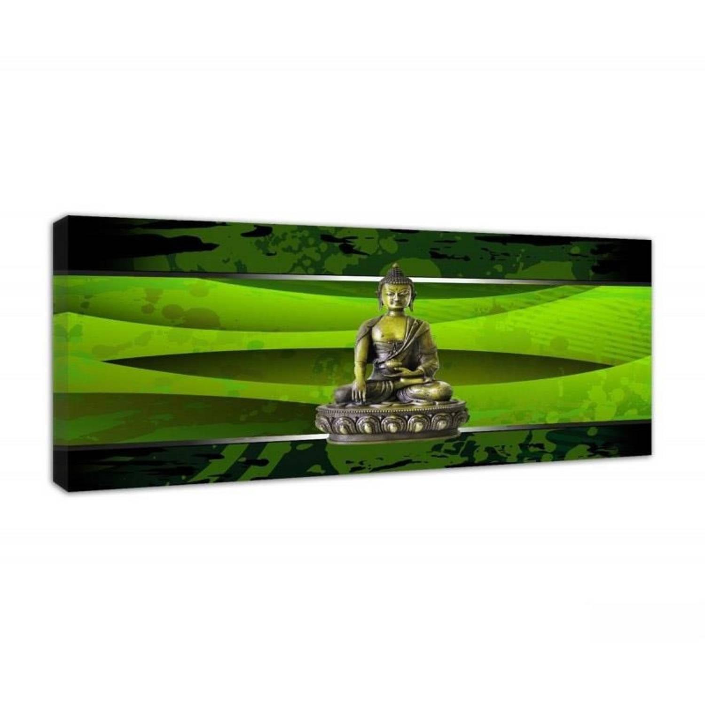 Schilderij - Boeddha In Een Groen Kader - 140x45