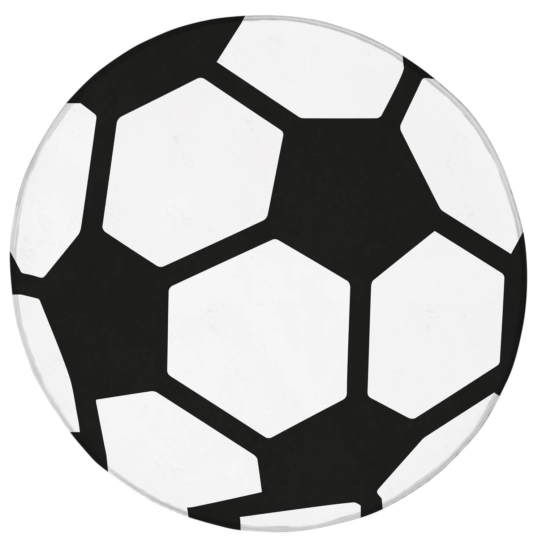 House of Kids vloerkleed voetbal 75 cm wit/zwart