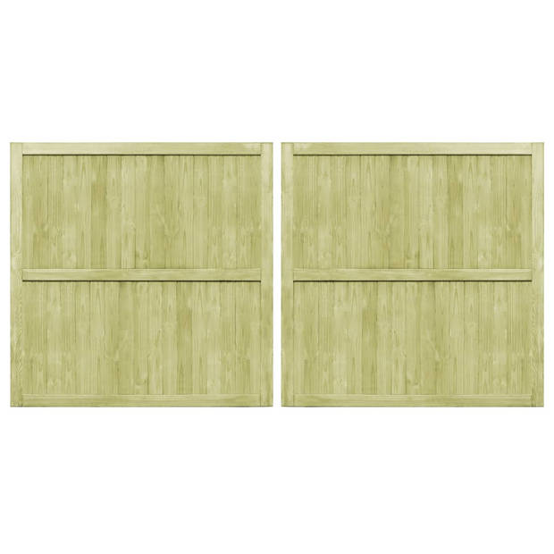 vidaXL Poorten 2 st 300x150 cm geïmpregneerd grenenhout