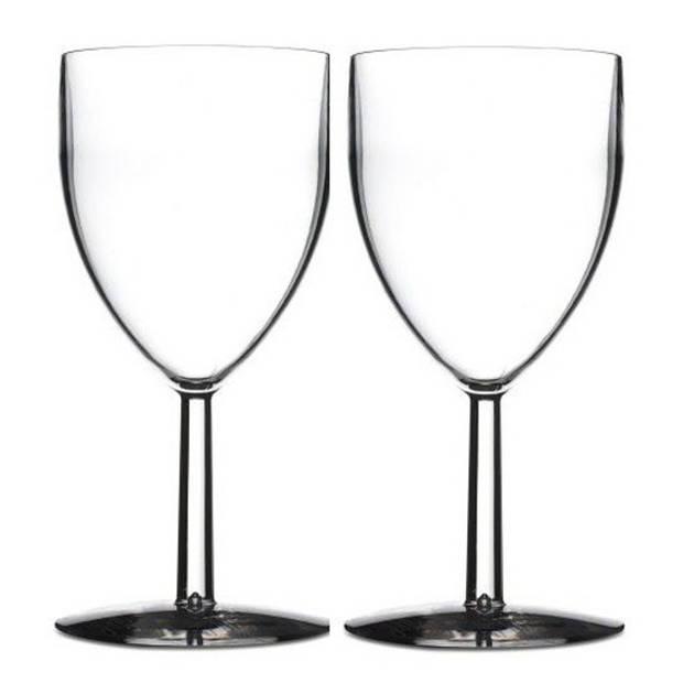 2x Mepal wijnglazen van San kunststof 300 ml - Onbreekbare camping/picknick glazen