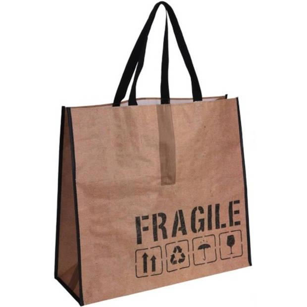 VDM boodschappentas Fragile 32 liter bruin/zwart