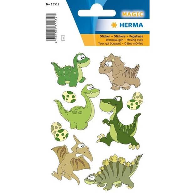 9x Dinosaurus met wiebeloogjes dieren 3D stickers - kinderstickers - stickervellen - knutselspullen
