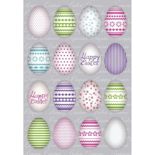 48x Gekleurde paaseieren Vrolijk Pasen stickers - kinderstickers - stickervellen - knutselspullen