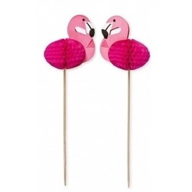 24x Flamingo thema cocktailprikkers 15 cm - Vogels/dieren - kaasprikkers/hapjesprikkers feestartikelen